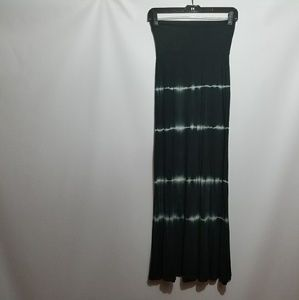 Promesa USA black tie dye Boho maxi skirt small.